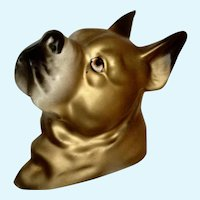Golden Boxer Dog Wall Plaque Ceramic Japan