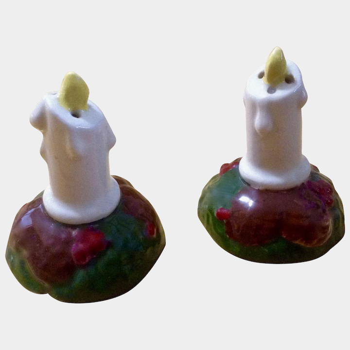 Vintage Christmas Candles.Vintage Christmas Candle Salt And Pepper Shakers Ceramic
