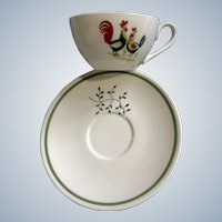 Family Affair Rooster Cup & Saucer Horizon by Steubenville for Tea or Coffee