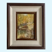 C Daly, Small Landscape Pond and Forest Scene Oil Painting