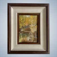 C Daly, Small Landscape Pond and Forest Scene Oil Painting Signed by Artist