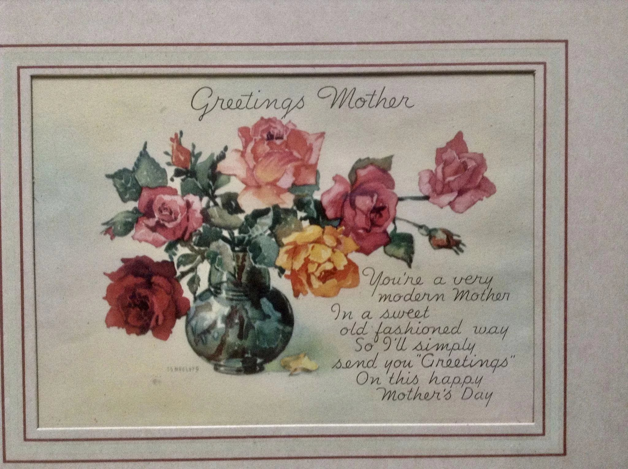 Vintage 1950s Greetings Mothers Day Floral Poem Print Picture