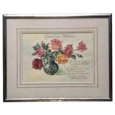 Vintage Mothers Day Poem Floral Print Picture 1950's Greetings