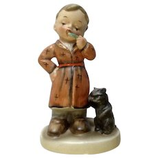 Mid-Century Napco Bedtime Boy Brushing His Teeth with Toothbrush and His Cat AH1B Ceramic Japan Figurine