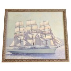 Oil Painting of a Sailing Ship by Coast, Nautical Seascape Oil Painting Signed by Artist