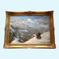 Jorge W. Ewerbeck L, Chilean Huaso Cowboy Cordilleras Andes Mountains Oil Painting