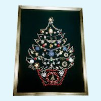 Christmas Tree Adorned Jewelry Picture with Velvet Green Backing  33""