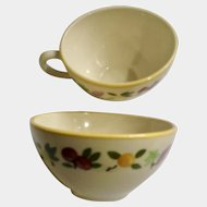 Franciscan Ware Small Fruit Flat Cup for Coffee or Tea Made in USA Pair of Two