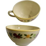 Franciscan Small Fruit Flat Cup for Coffee or Tea Made in USA Pair of Two