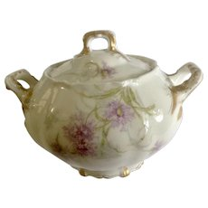 Vintage Large Sugar Bowl Saint Cloud Theodore Haviland Limoges France Dainty Purple Flowers with Gold Handles