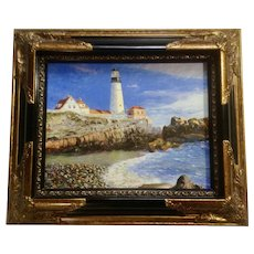 Portland Head Lighthouse From The Beach Landscape Oil Painting