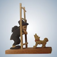 Erzgebirge Germany Wooden Chimney Sweeper Hiding Behind Ladder with Barking Dog Hand Made Figurine