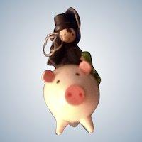 Erzgebirge Germany Hog Wooden Irish Chimney Sweeper Riding a Pig Hand Made Christmas Tree Ornament Figurine