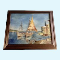 R. Bezner Nautical Sailboats Oil Painting on Board Signed