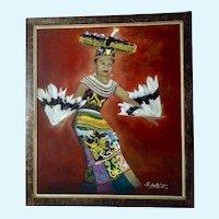 Rudianto, Indonesian Feather Folk Dance, Balikpapan Kalimantan Timur, Indonesia, Oil Painting