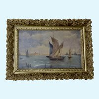 Venetian Seascape Boats on the Water Oil Painting