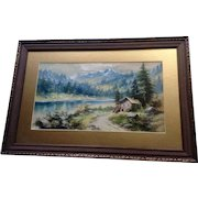 L Brandelle, Watercolor Painting Mountainous Landscape with Rural Cabin and River 1900's Signed by Artist