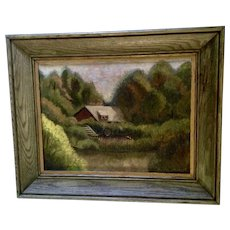 H. Vaughan, Woodland Landscape Oil Painting Home on River