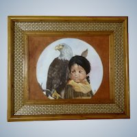 Little Eagle Acrylic Painting Figural of Small Boy and Bald Eagle Initialed By Artist