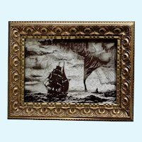 Ships in a Storm  Etched Intaglio Triplemetal Etching Plate