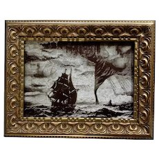 Triplemetal Etching Plate Ships in a Storm with Waterspout Etched Intaglio Art Picture