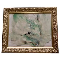 Gino F Hollander (1924-2015) Boat In Rough Seas Mixed Media Ink and Oil Painting on Paper Signed by Listed Artist