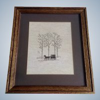 Folk Art Hand Embroidered Picture of an Amish Horse Drawn Wagon in a Winters Forest