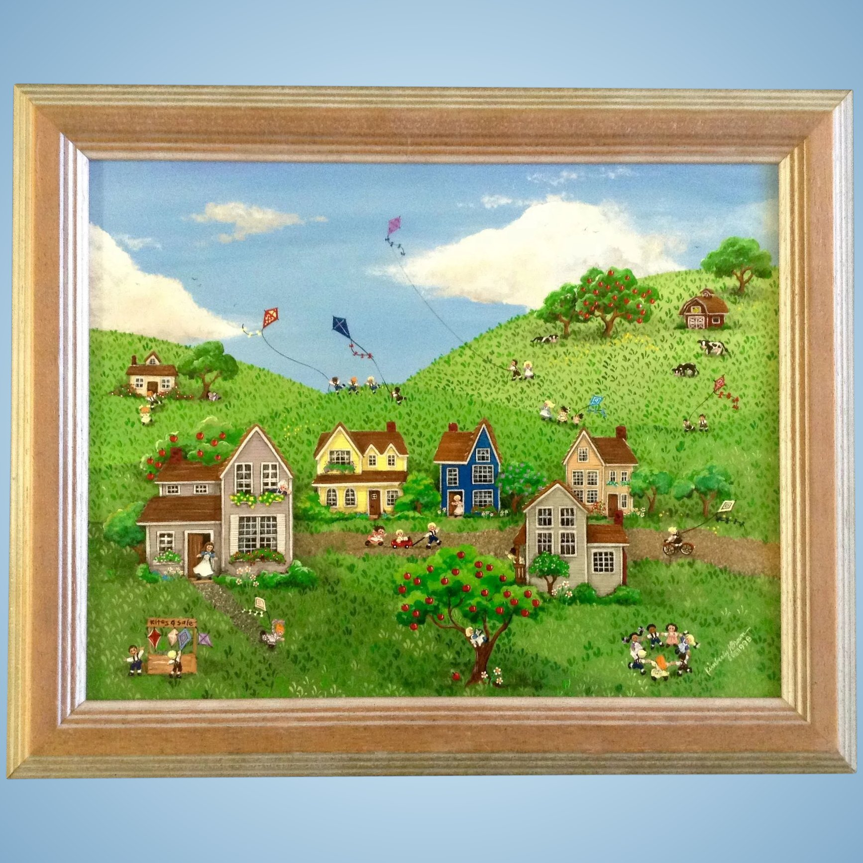 Kimberly J Brown Primitive Folk Art Children Playing In A