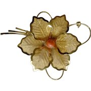 Vintage Faux Coral Gold Tone Leaf Costume Jewelry Fashion Brooch Pin