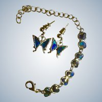 Abalone Shell Butterfly Bracelet with Matching Pierced Earrings for Young Lady