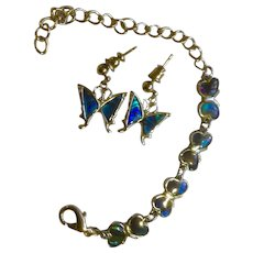 Abalone Shell Butterfly Pierced Earrings With Matching Bracelet For Young Lady