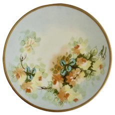"Vintage Jean Pouyat (JP) Limoges France Hand Painted Floral Motif Gold Rim Plate 8-1/2"" Hand Painted"