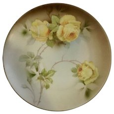 "Vintage PSAG Bavaria Yellow Roses Hand Painted Transferware 8"" Porcelain Plate"