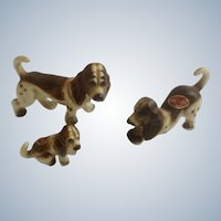 Vintage Basset Hound Dogs Bone China Miniatures Set Animal Figurines Made in Japan