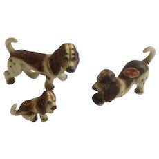 Vintage Rare Bone China Miniature Basset Hound Dogs Bone China Set Animal Figurines Made in Japan