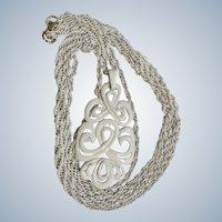 "Vintage Trifari White Enamel 24"" Necklace Costume Jewelry"