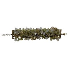 "Multicolored Rhinestone Glass Beaded Bracelet with Faux Diamonds 8"" Costume Jewelry"