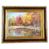 Ja Sball, Original Oil Painting on Canvas Signed by Artist, Fall River Bank