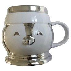 Retired Slatkin & Co. Large Penguin Head Coffee Hot Chocolate Mug Silver and White Ceramic Christmas