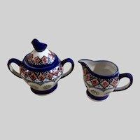 Cream and Sugar Bowl Unikat Polish Art Pottery Blue Bird with Pinwheel