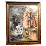 Elizabeth Girard, Wildfire Escape, White Horse, Watercolor Painting Works on Paper, Original 19th Century, Signed by Artist