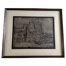 1969 Herta Galton (Austrian 1914-2010) Abstract European Hilltop Cityscape Woodcut Print Works on Paper Abstract Hilltop City View