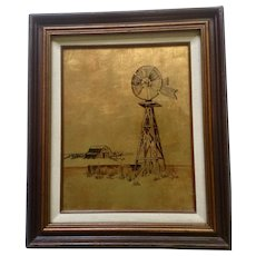 Lorna Cruse, Windmill  24kt Gold leaf Behind Reverse Glass Landscape Oil Painting