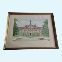 Architectural Watercolor Painting of a European Church Cathedral initialed  KK