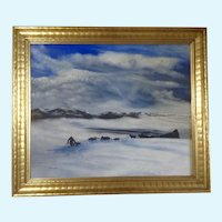 Theo. (Theodore) C. Link, North Pole Landscape Dog Sleds Oil Painting