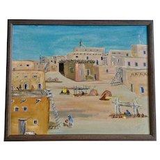 Primitive Folk Art American Indian Pueblo Landscape Oil Painting