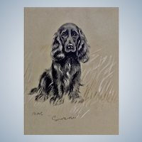 1930's-1940's Lucy Dawson, Sad Eyed Spaniel Named Susan Framed Print from the Book, Dogs Rough And Smooth