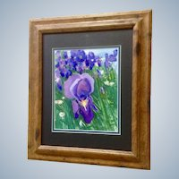 Patton, Purple Iris and White Daisies Floral Landscape Watercolor Painting Signed by Artist