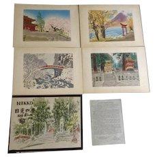 Eiichi Kotozuka (1906 - 1979) Wood Block Prints Four Seasons of Nikko Portfolio Book 1950's Japanese Woodblock Etchings