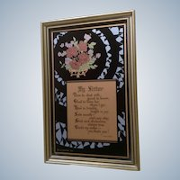 Vintage Framed Poem, Emma E. Koehler, My Sister Print on Glass 1930 Art Deco C & A Richards Picture